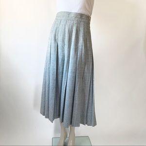 Vintage Gray Plaid Pleated Wool Midi Skirt